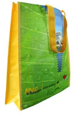 grünes AIDA Design des ADAC für die woven Tasche mit eingenähten kurzen Seiten